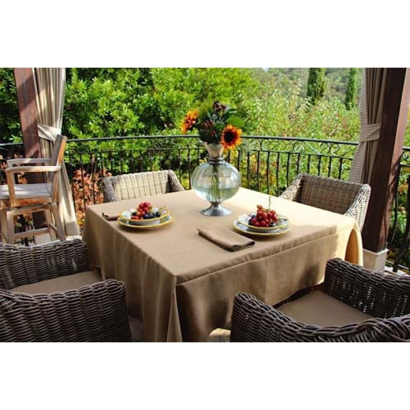 Amazing 90 Square Havana Faux Burlap Table Linen ...