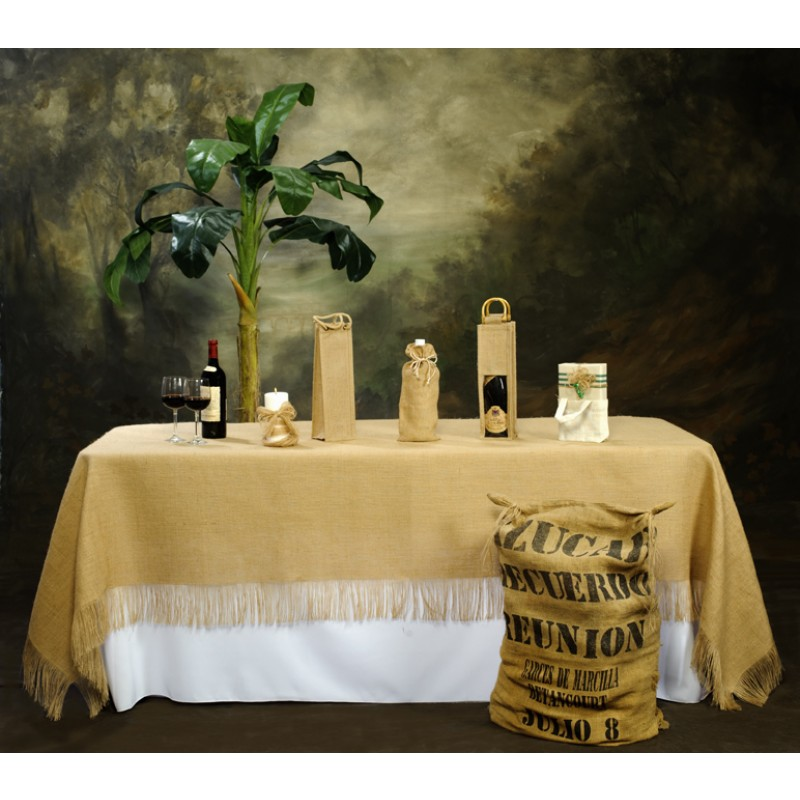 Charming ... Fringed Burlap Tablecloth 60 X 108