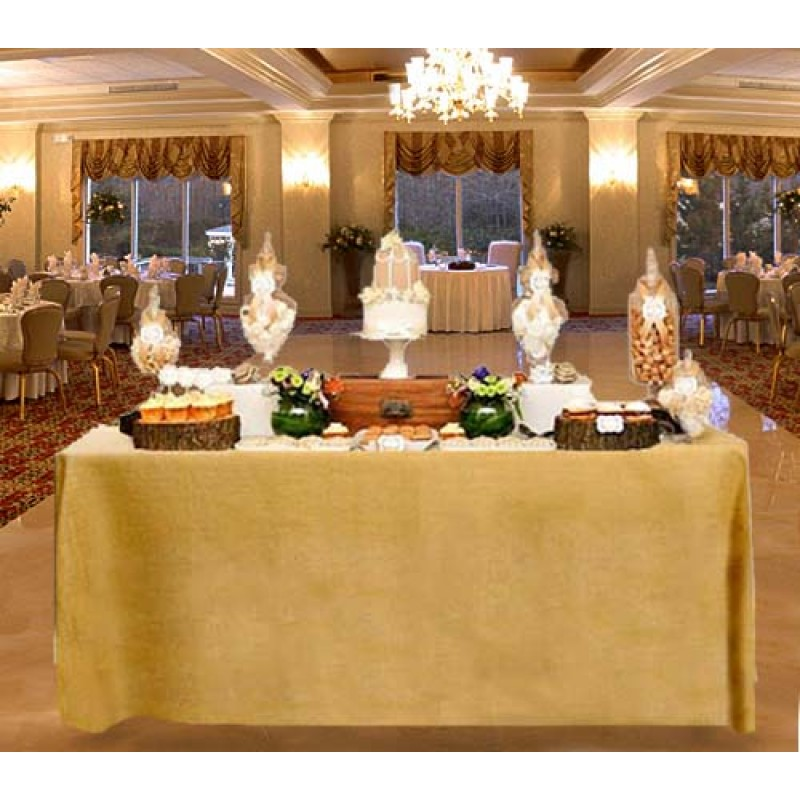... Natural Burlap Fitted Table Covers Pleated 24W X 48L X 29H