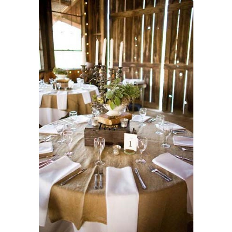 Natural Burlap Tablecloth 120 Round ...