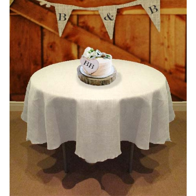 Natural Rustic Burlap Tablecloth In White 114 Round ...
