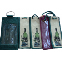 Burlap Wine Bags Set of 5 with rope handles