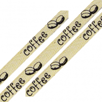 Cotton Ribbon Coffee Print