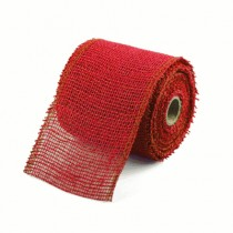 4 Inch Red Jute / Burlap Ribbon