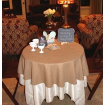 72 Round Havana Faux Burlap Tablecloth