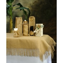 Burlap Tablecloth Fringed Arrangement