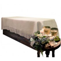 Natural White Burlap 60 x 120 Tablecloth Fringed