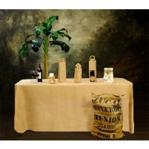 Natural Burlap Fitted Tablecloth-Pleated 30 W X 60 L X 29 H