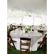 White tablecloth with grey overlay at wedding
