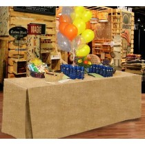 Natural Burlap Fitted Tablecloth 30W x 48L x 29H