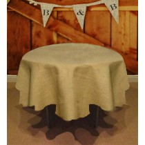 Natural Burlap Tablecloth 90 Round