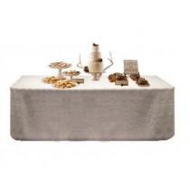 Natural Burlap Table Throw White 90 x 132