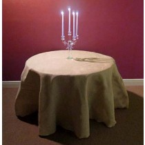 Natural 132 round Burlap Table Cover