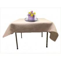 Natural Burlap Tablecloth 54 x 54 in White