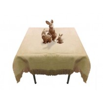 Natural Burlap Tablecloth with Fringe 72 x 72