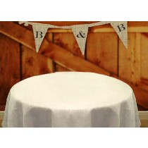 90 Round White Burlap Tablecloth