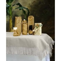 Natural Burlap Tablecloth White with Fringe 72 x 72