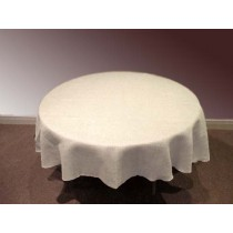72 Round White Burlap Tablecloth