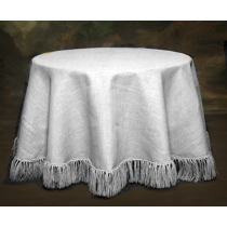 White Burlap 120 Round Tablecloth Fringed