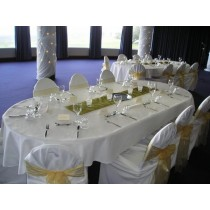"""60"""" x 170"""" Oval Polyester Tablecloth"""