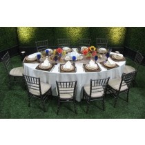 """52"""" x 70"""" Oval Polyester Tablecloth"""