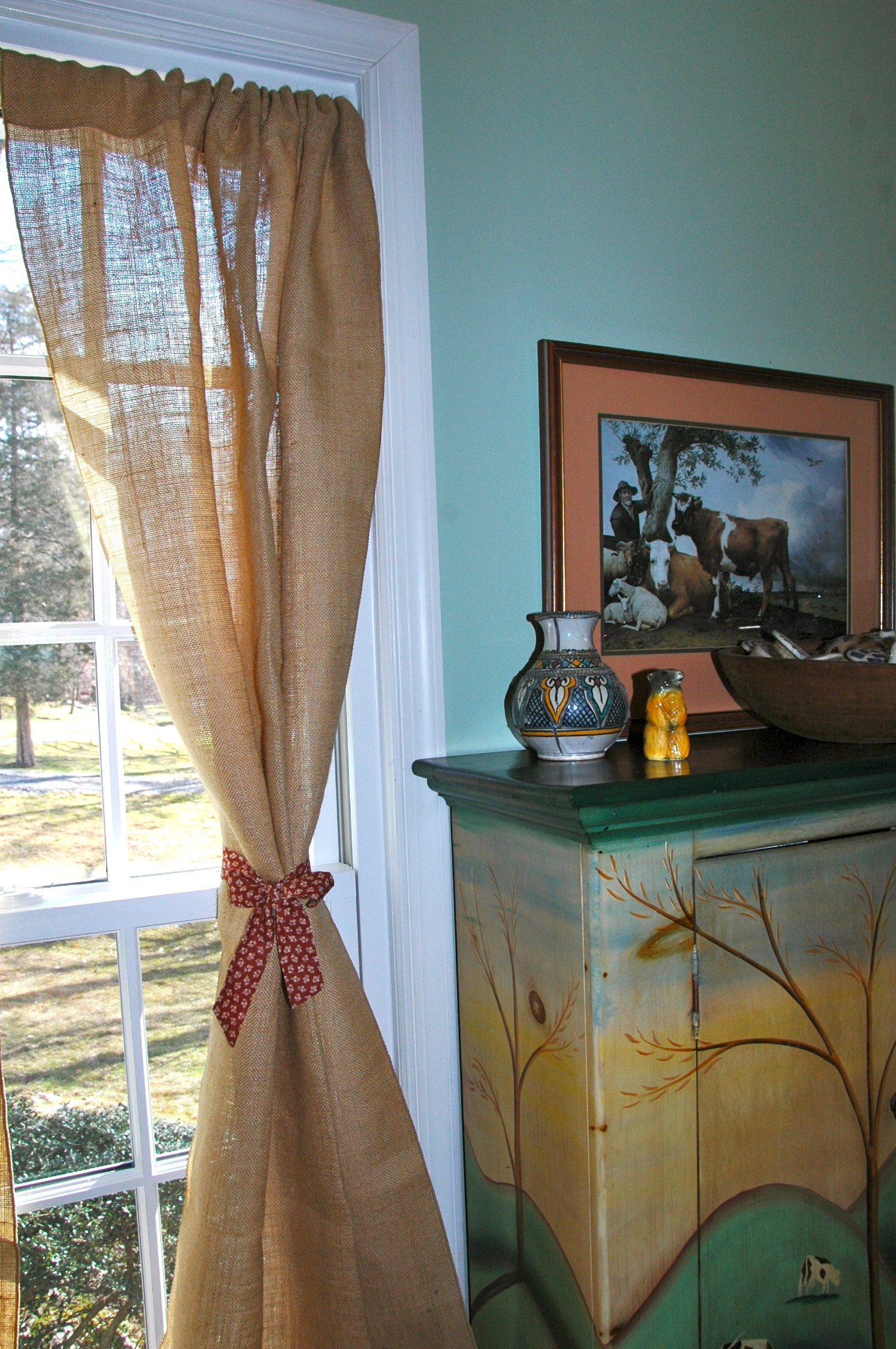 burlap Drapes rustic curtains