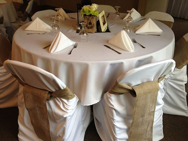 Burlap Chair Covers And Sashes