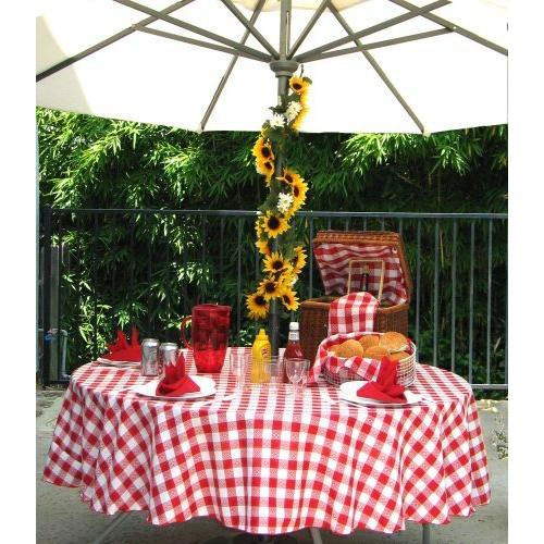 Checkered red gingham table cover