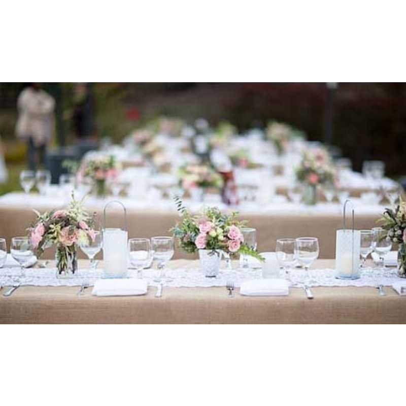 Charmant Natural Burlap Table Cover 60 X 108