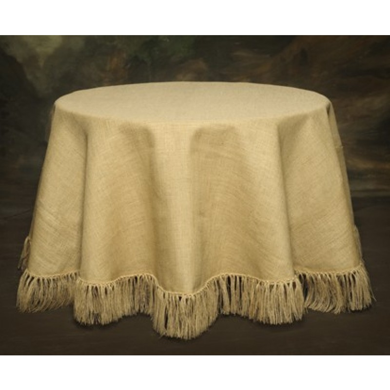 Burlap 120 Round Tablecloth Fringed