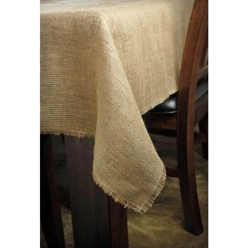 Natural Burlap Tablecloth 72 X 108 With Fringe
