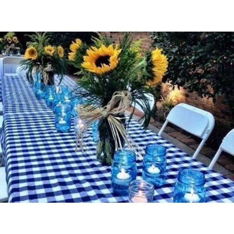 ... Blue And White Checkered Tablecloth ...