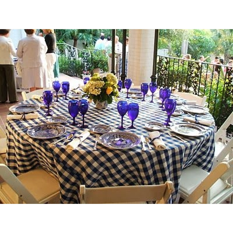 Round Checkered Tablecloth 108 Inch