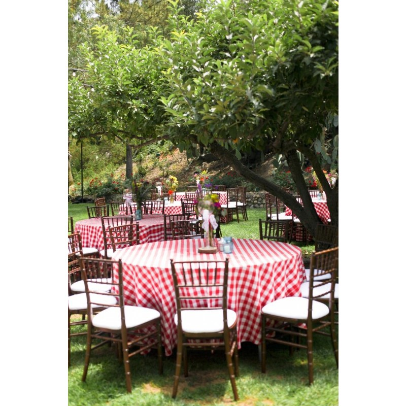 Round Checkered Tablecloth 114 Inch