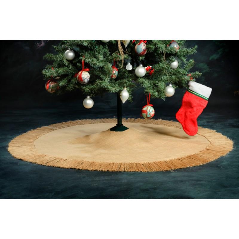 Burlap Fringed Tree Skirt 60 Inches