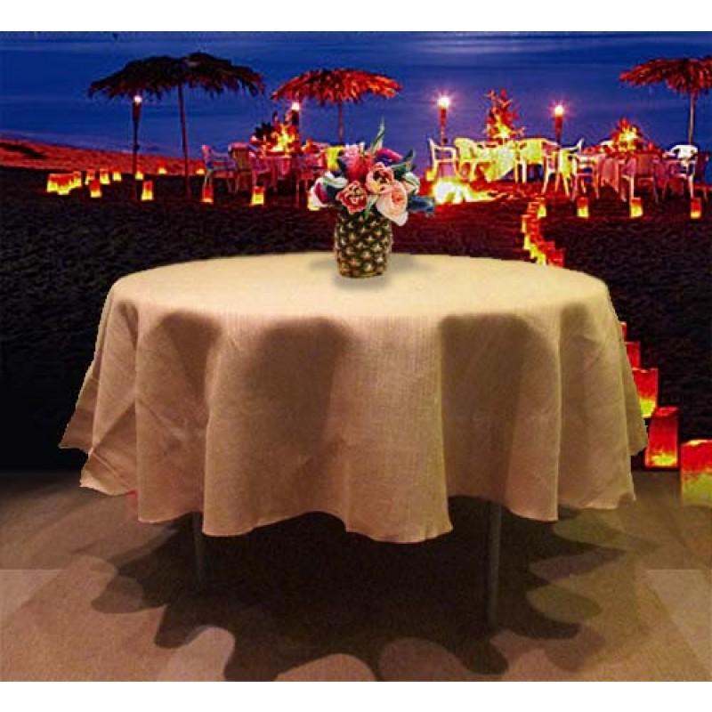Natural Burlap Tablecloth 84 Round