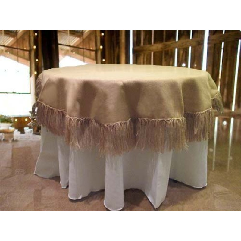 Genial Natural Burlap Tablecloth 60 Round With Fringe ...