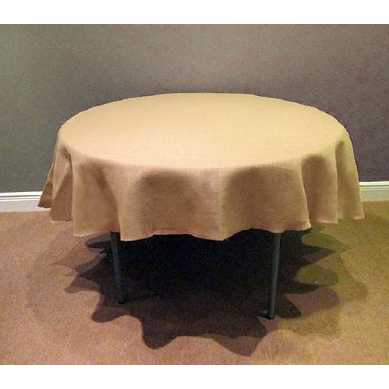 Bon More Views. Natural Burlap Tablecloth 102 Round ...
