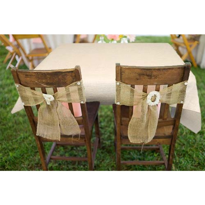 Natural Burlap Table Cover White 72 X 72
