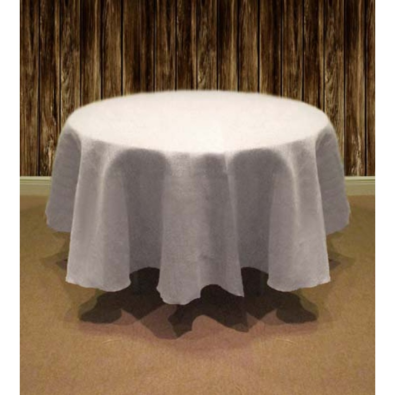 Natural Burlap Table Cover 126 Round White ...
