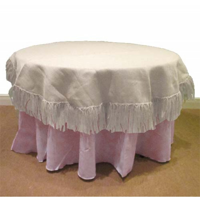 Superb Natural Burlap White 60 Round Table Cover Fringed ...