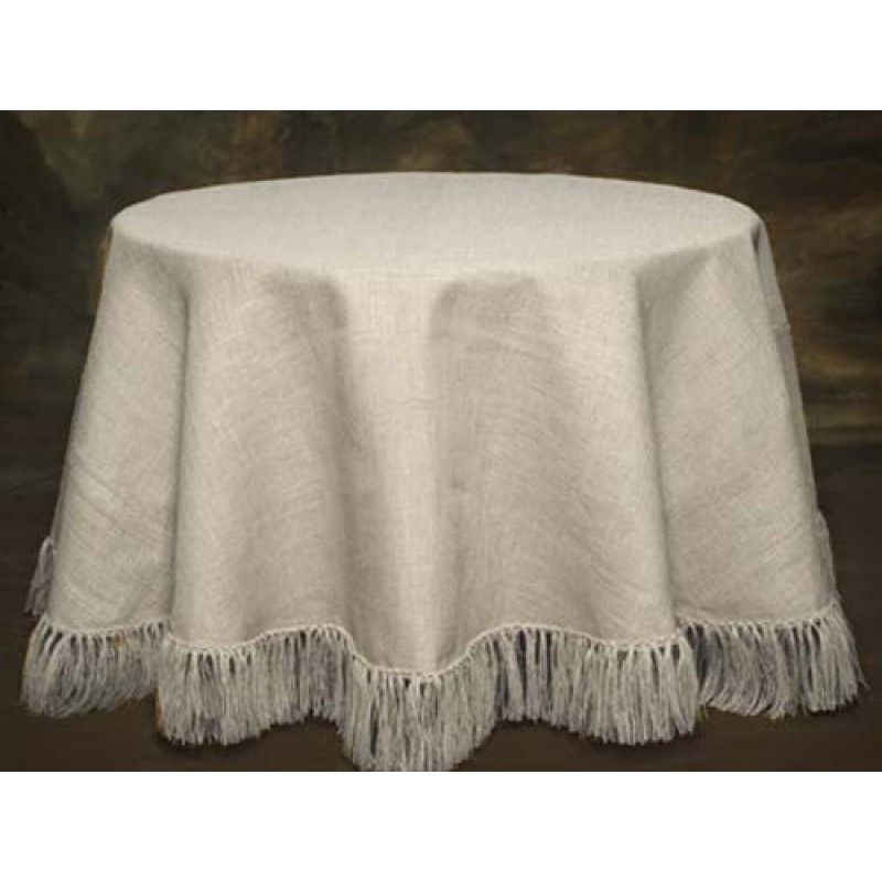 Beau Cream White Burlap Tablecloth 90 Round Fringed ...
