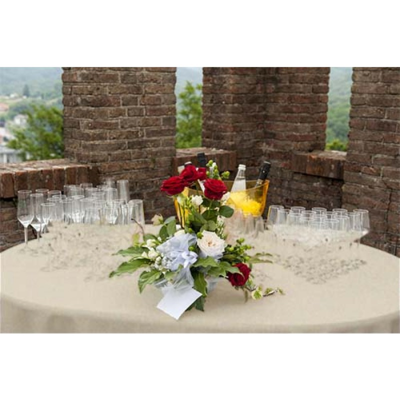 ... Natural Burlap Tablecloth 60 Round White