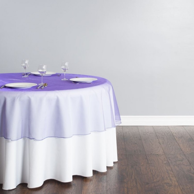 84 Inch Round Organza Overlay Tablecloth