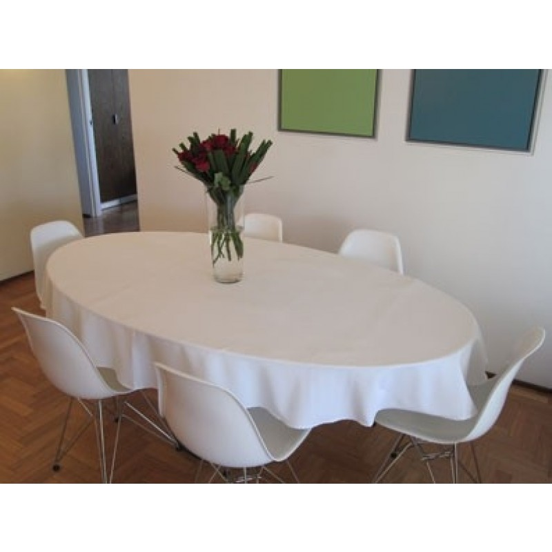 108 X 132 Inch Oval Spun Polyester Tablecloth