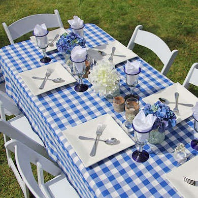 Blue And White Checkered Tablecloth ...