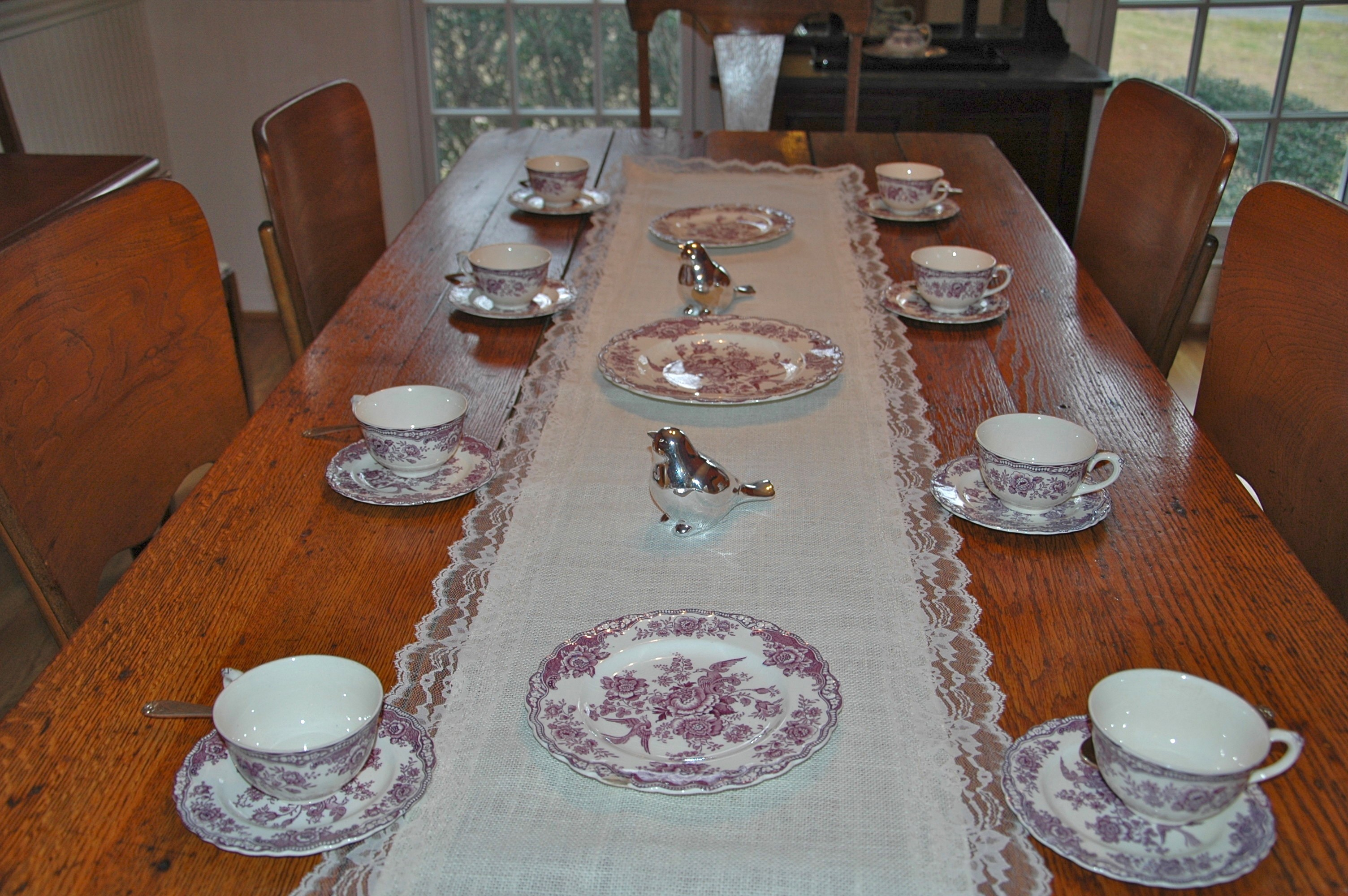 Burlap Table Runner with Lace 13 in x 72 in
