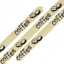 Cotton Ribbon Coffee Print