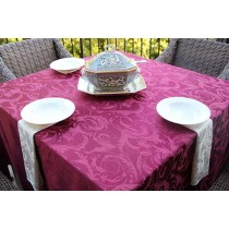"108"" x 108"" Square Melrose Damask Tablecloth"