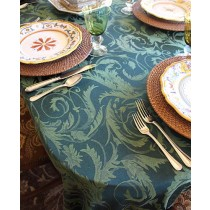 "108"" x 132"" Oval Melrose Damask Tablecloth"